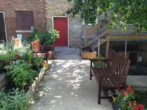 New Benches in our back walk garden!